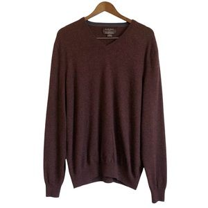 BLACK BROWN 1826 2 Ply Cashmere Soft V Neck Sweater Shirt Top Maroon